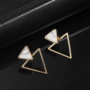 Geometric Minimalist Triangle Marble Stud Earrings